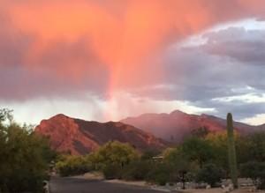 Orange sky over desert